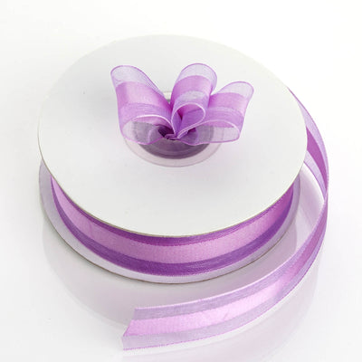 "25 Yards | 7/8"" DIY Lilac Organza Ribbon Satin Center"