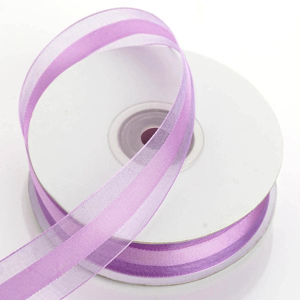 "25 Yards | 7/8"" DIY Lilac Organza Ribbon Satin Center - Clearance SALE"