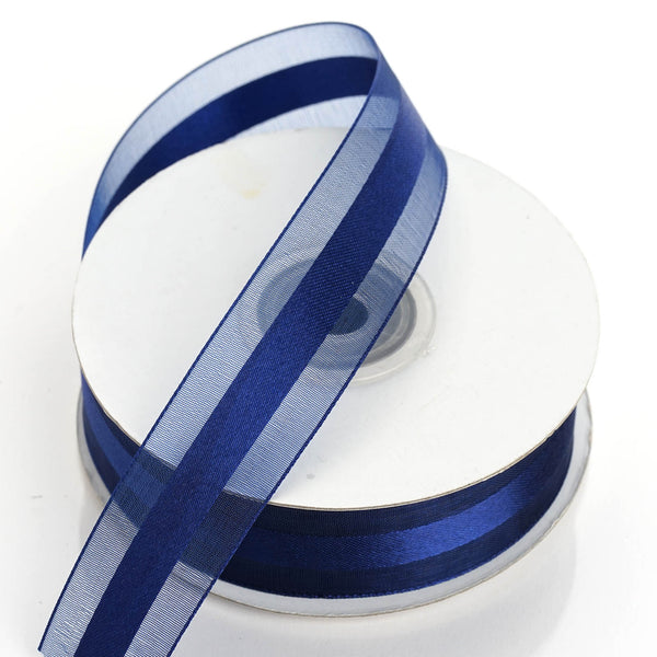 "25 Yards | 7/8"" DIY Navy Blue Organza Ribbon Satin Center"