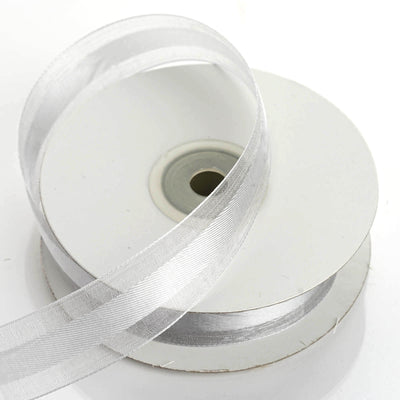 "25 Yards 7/8"" Silver Organza Satin Center Ribbon"