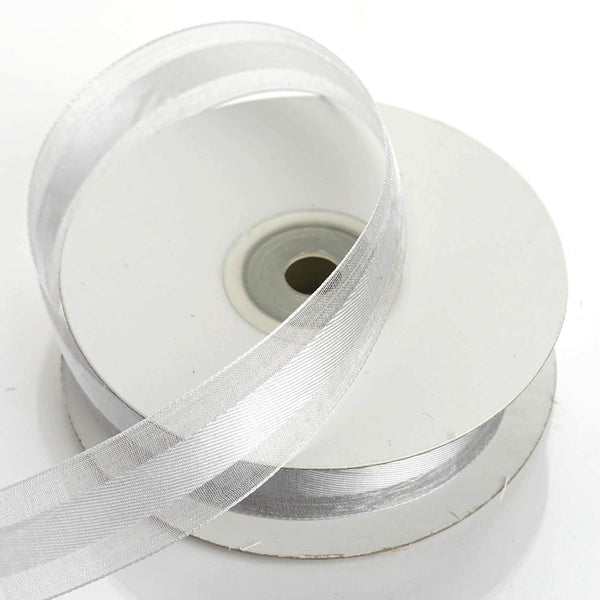 "25 Yards | 7/8"" DIY Silver Organza Ribbon Satin Center - Clearance SALE"