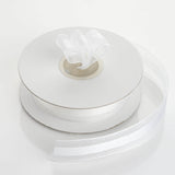 "25 Yards 7/8"" White Organza Satin Center Ribbon"