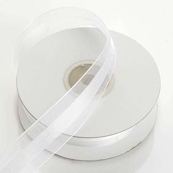 "25 Yards | 7/8"" DIY White Organza Ribbon Satin Center - Clearance SALE"