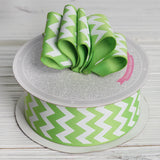 10 Yards 1.5 Inch | Apple Green Upbeat Chevron Ribbons | TableclothsFactory