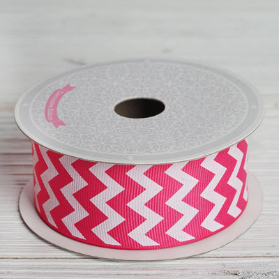 10 Yards 1.5 Inch | Fushia Upbeat Chevron Ribbons | TableclothsFactory