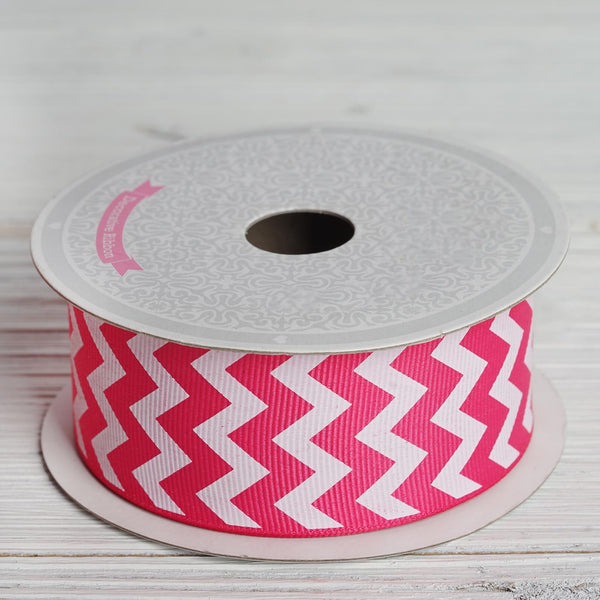 "10 Yards 1.5"" Fushia Upbeat Chevron Ribbons - Clearance SALE"