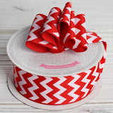 "10 Yards 1.5"" Red Upbeat Chevron Ribbons"