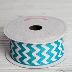 10 Yards 1.5 Inch | Turquoise Chevron Print Grosgrain Ribbon | TableclothsFactory