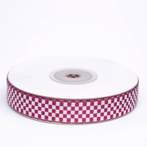 "25 Yards | 5/8"" Eggplant Buffalo Plaid Ribbon 