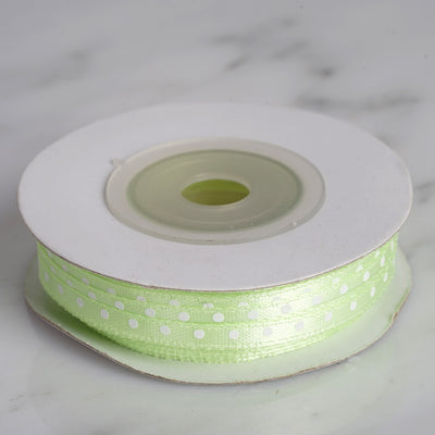 "25 Yards 1/8"" Apple Green Satin Polka Dot Ribbon"
