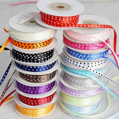 "25 Yards 1/8"" Ivory Satin Polka Dot Ribbon"