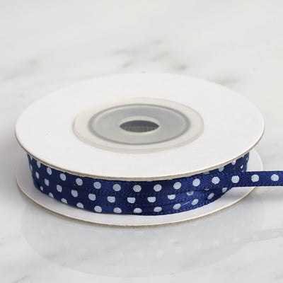 25 Yards 1/8 Inch | Navy Blue Satin Polka Dot Ribbon | TableclothsFactory