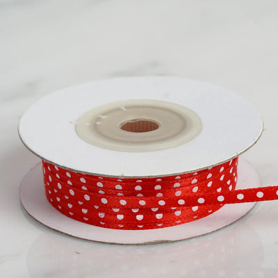 25 Yards 1/8 Inch | Red Satin Polka Dot Ribbon Wholesale | TableclothsFactory