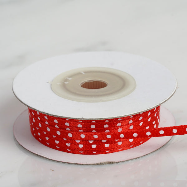 "25 Yards 1/8"" Red Satin Polka Dot Ribbon Wholesale - Clearance SALE"