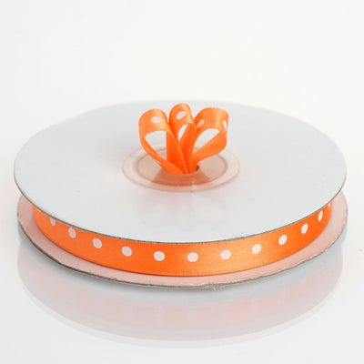 "25 Yards 3/8"" Orange Polka Dot Satin Ribbon"