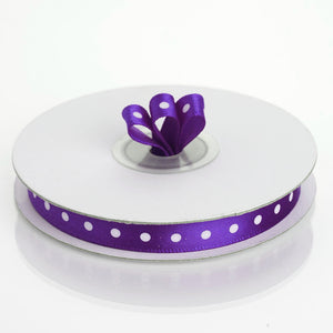 "25 Yards 3/8"" Purple Grosgrain Polka Dot Satin Ribbon"