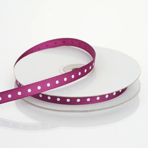 25 Yards | 3/8 Inch | Eggplant Grosgrain Polka Dot Ribbon | TableclothsFactory