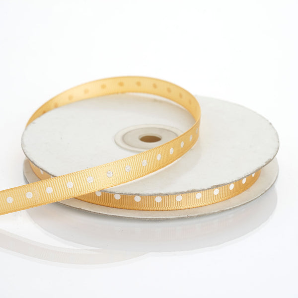 "25 Yards 3/8"" Gold Grosgrain Polka Dot Ribbon"