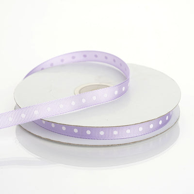 "25 Yards 3/8"" Lavender Grosgrain Polka Dot Ribbon"