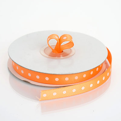 "25 Yards 3/8"" Orange Grosgrain Polka Dot Ribbon"