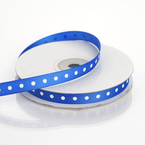 "25 Yards 3/8"" Royal Blue Grosgrain Polka Dot Ribbon"