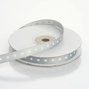"25 Yards 3/8"" Silver Grosgrain Polka Dot Ribbon"