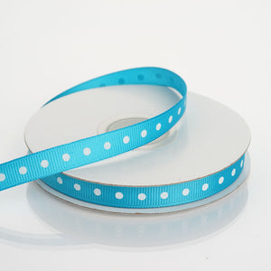 "25 Yards 3/8"" Turquoise Grosgrain Polka Dot Ribbon"