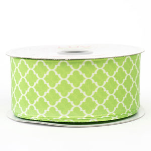 10 Yards 1.5 Inch | Apple Green Grosgrain Geometric Pattern Quatrefoil Ribbon | TableclothsFactory#whtbkgd