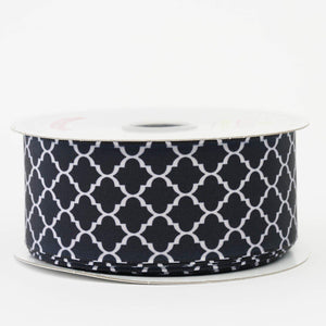 "10 Yards 1.5"" Black Grosgrain Geometric Pattern Quatrefoil Ribbon"