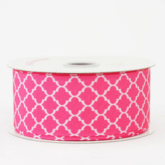 10 Yards 1.5 Inch | Fushia Grosgrain Geometric Pattern Quatrefoil Ribbon | TableclothsFactory