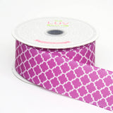 10 Yards 1.5 Inch | Purple Grosgrain Geometric Pattern Quatrefoil Ribbon | TableclothsFactory