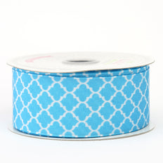 10 Yards 1.5 Inch | Torquoise Grosgrain Geometric Pattern Quatrefoil Ribbon | TableclothsFactory