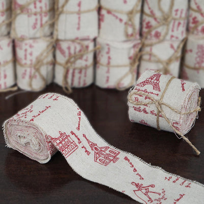 Pack of 12 | 3 Yard Rustic Burlap Ribbon | Paris Themed Party Print