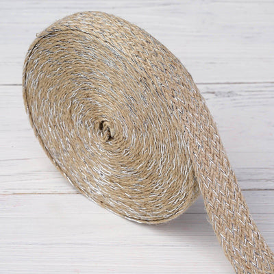 "Colored Burlap Rolls | Natural | Shiny Silver Threading | 1"" x 10 Yards 