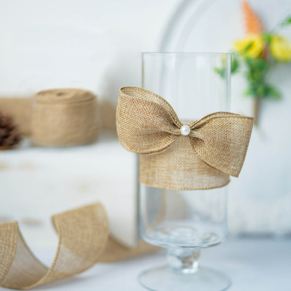 "2.5"" x 10 Yards Natural Tone Wired Burlap Ribbon Wholesale"