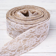 "Floral Lace Stitched Burlap Ribbon 1.5"" x 10yds - Natural"