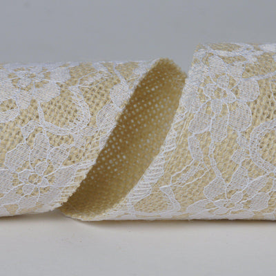 "Floral Lace Stitched Burlap Ribbon 2.5"" x 10yds - Natural"