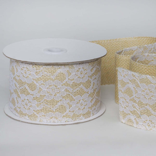 "Lace Burlap Ribbon | 1 Fabric Bolt | Natural | 2.5"" x 10 Yards 