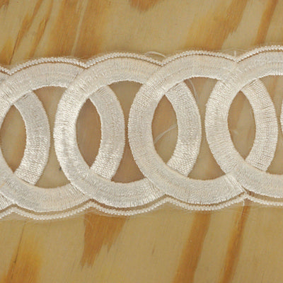 "Ring a Ding Crocheted Heavy Lace Ribbon Trim 2.17"" x 5yards - White"