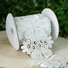 4 Inch x 5 Yards | Crochet Stitches Trim Lace Ribbons | White Bolt | TableclothsFactory