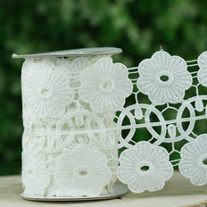 5 Yards | White Crochet Lace Ribbon With Daisy Wheel Pattern