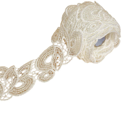 "5 Yards 2.75"" White Baroque Clear Sequined Crocheted Heavy DIY Lace Ribbon Trim Craft Dress"