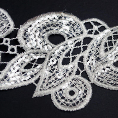 "Baroque Clear Sequined Crocheted Heavy Lace Ribbon Trim 2.75"" x 5yards - White"