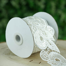 "Sequin Stitch Crochet | Lace Trim Ribbon | 3""x 5 Yards 