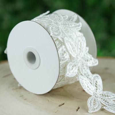 "3""x 5 Yards White Iridescent Miltonia Orchid Crochet Magnolia Flower Pattern Sequin Ribbon By The Yard"