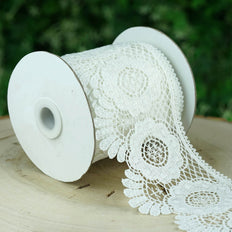 5 Yards | White Scalloped Edge Crochet Lace Ribbon With Pineapple Doily Pattern