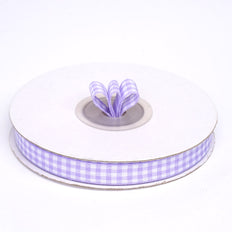 Buffalo Plaid Ribbons | 25 Yards | 3/8 Inch | Lavender | Checkered Gingham Ribbons