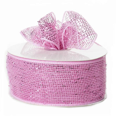 "What a MESH! 2.5"" x 25yards Shiny Ribbons Pink"