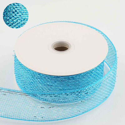 "25 Yards 2.5"" DIY Turquoise Sparkling Mesh Ribbons"
