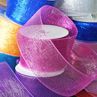 "25 Yards 4"" DIY Fushia Sparkling Mesh Ribbon Wholesale"